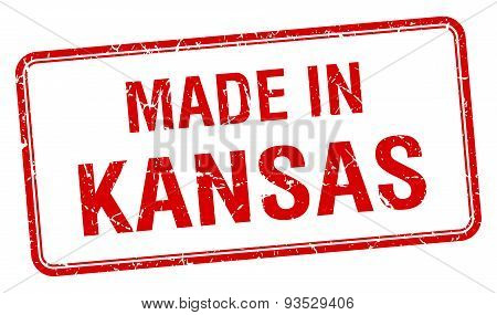 Made In Kansas Red Square Isolated Stamp