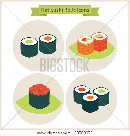Flat Sushi Rolls Circle Icons Set