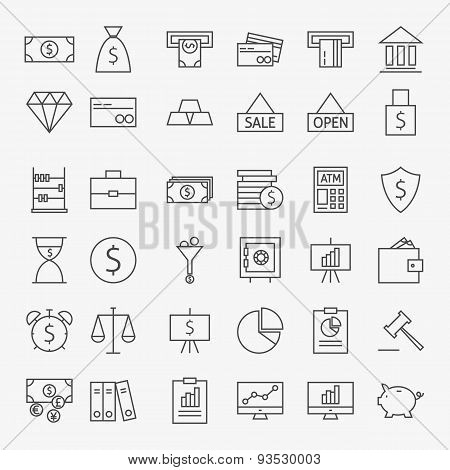 Line Banking Money And Finance Icons Big Set