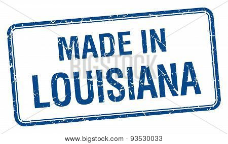 Made In Louisiana Blue Square Isolated Stamp