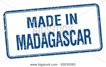 Made In Madagascar Blue Square Isolated Stamp