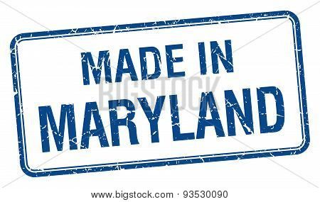 Made In Maryland Blue Square Isolated Stamp