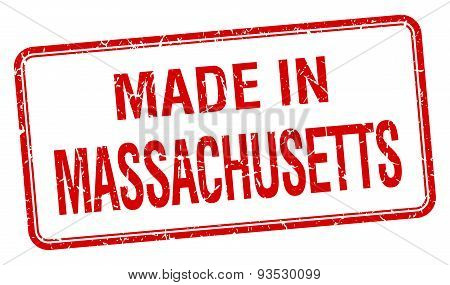 Made In Massachusetts Red Square Isolated Stamp