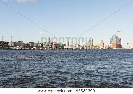 View to the City riverbank from the harbor side Hamburg
