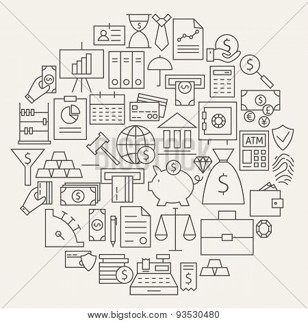 Money Finance Banking Line Icons Set Circular Shaped