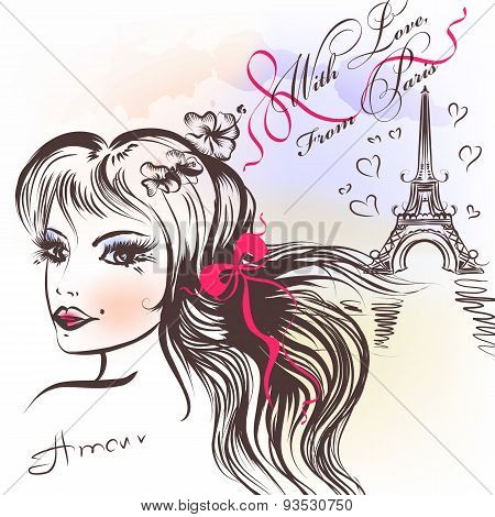 Cute French Girl's Face With Long Hair Sketch Style