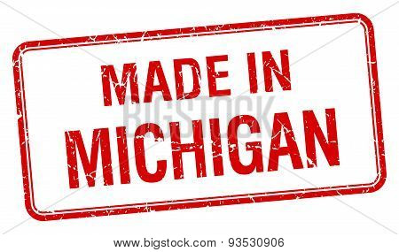 Made In Michigan Red Square Isolated Stamp