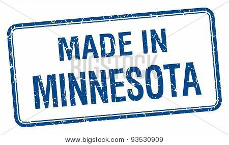 Made In Minnesota Blue Square Isolated Stamp