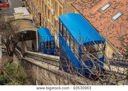ZAGREB, CROATIA - 12 MARCH 2015: The old Zagreb funicular that brings passengers from the Lower to the Upper part of Zagreb every ten minutes.