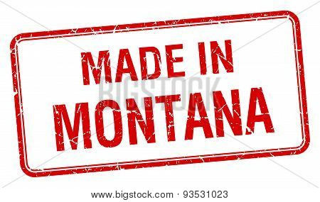 Made In Montana Red Square Isolated Stamp