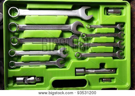 Set of tools in box close up