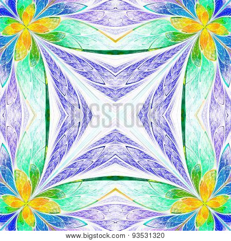 Symmetrical Flower Pattern In Stained-glass Window Style On Light. Green, Yellow And  Dark-blue