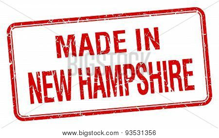 Made In New Hampshire Red Square Isolated Stamp