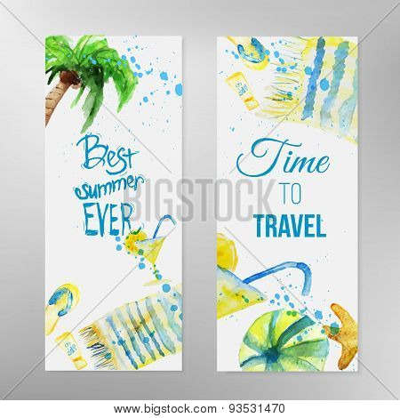 Vector Watercolor Set Of Summer Banners With Lettering On Beach Background. Eps10
