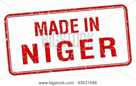Made In Niger Red Square Isolated Stamp