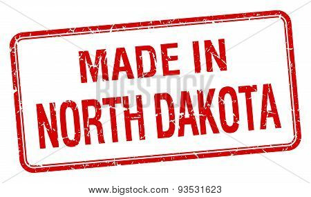 Made In North Dakota Red Square Isolated Stamp