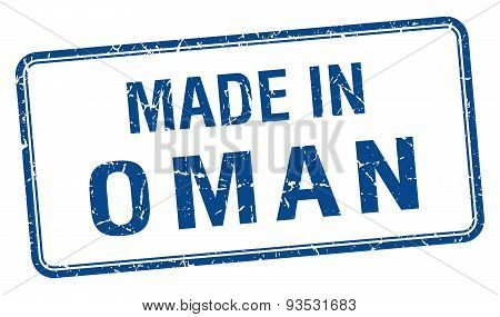 Made In Oman Blue Square Isolated Stamp