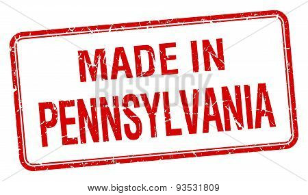 Made In Pennsylvania Red Square Isolated Stamp