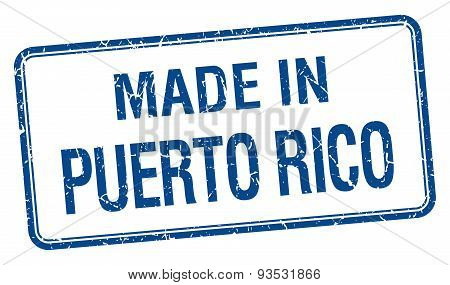 Made In Puerto Rico Blue Square Isolated Stamp