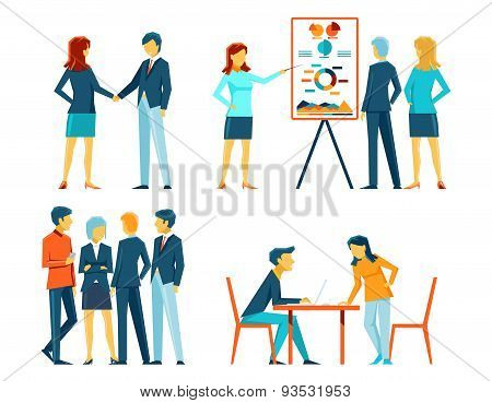 Business people in different poses