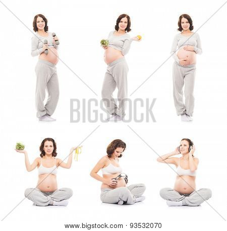 Pregnant woman isolated on white (collection). Healthy eating, sports, fitness and nutrition concept.