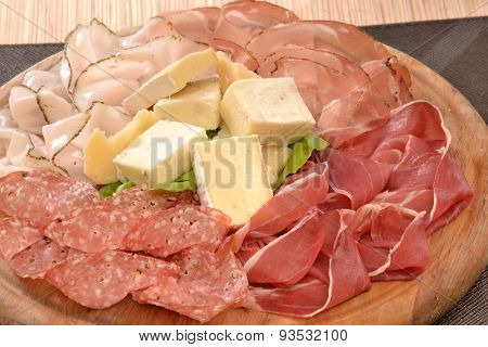 Sliced prosciutto salami and cheese dish.