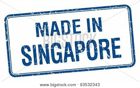 Made In Singapore Blue Square Isolated Stamp