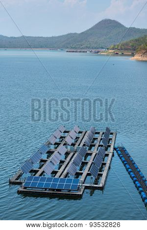 Solar cells on the lake of Srinagarindra Dam on  Khwae Yai River Thailand