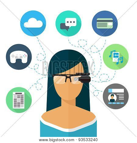 Woman wearing glasses augmented reality. Flat icon