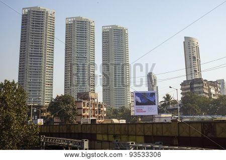 MUMBAI, INDIA - 08 JANUARY 2015: View of skyscrappers in the streets of Mumbai.
