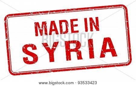 Made In Syria Red Square Isolated Stamp