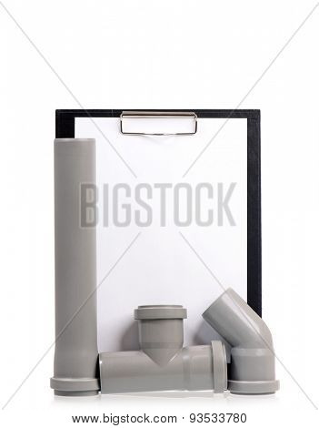 New grey drain pipe with blank clipboard, isolated on white background