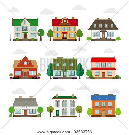 Cute houses in flat style