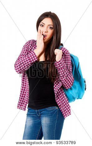 Surprised student girl with backpack, isolated on white background