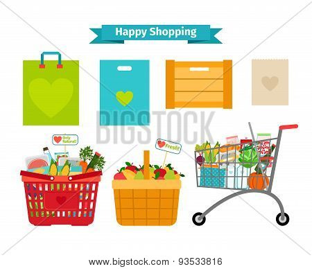 Happy shopping concept. Only fresh and natural food