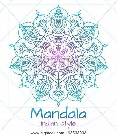 Mandala thin line indian style