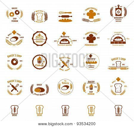 Vector bakery logos set