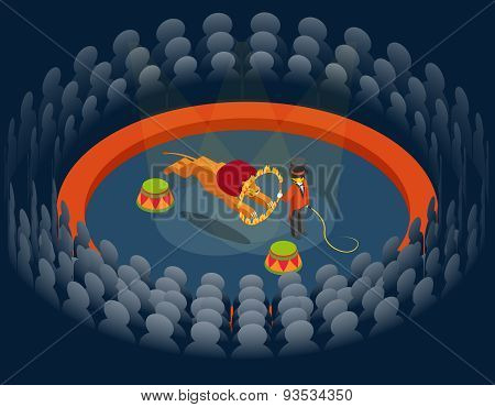 Lion jumping through ring. Circus show. Isometric 3d vector illustration