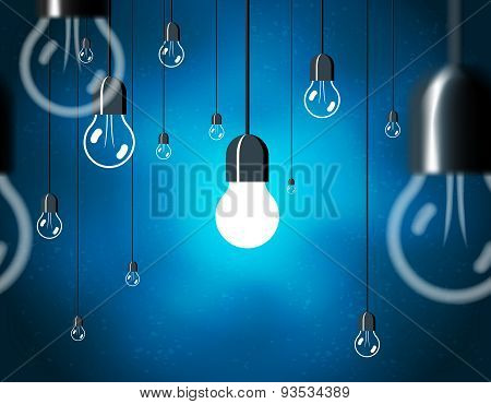 Light bulbs on blue background, horizontally seamless