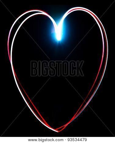 Freeze Light Painted Heart On A Black