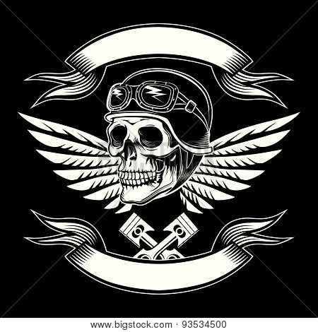 Motor skull vector graphic. Motorcycle vintage design