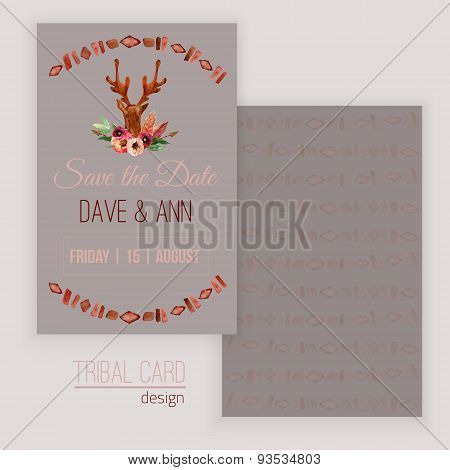 Vector watercolor save the date card with deer head, flowers, leaves and arrows in tribal style. Cre