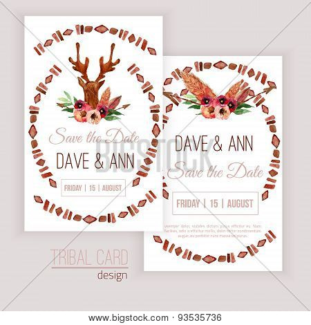 Vector watercolor save the date cards with deer head, flowers, leaves and arrows in tribal style