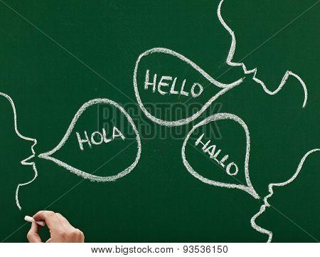 global communication concept on blackboard