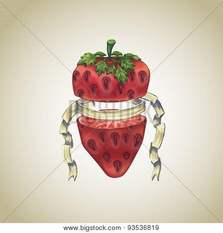 Strawberry With Heraldic Ribbon