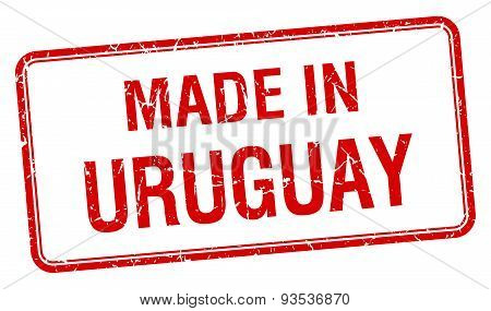 Made In Uruguay Red Square Isolated Stamp