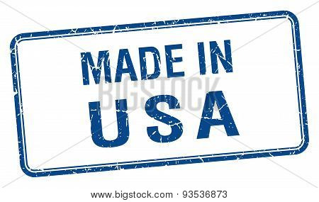Made In Usa Blue Square Isolated Stamp