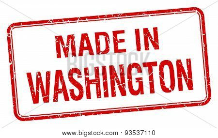 Made In Washington Red Square Isolated Stamp