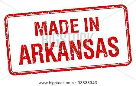 Made In Arkansas Red Square Isolated Stamp