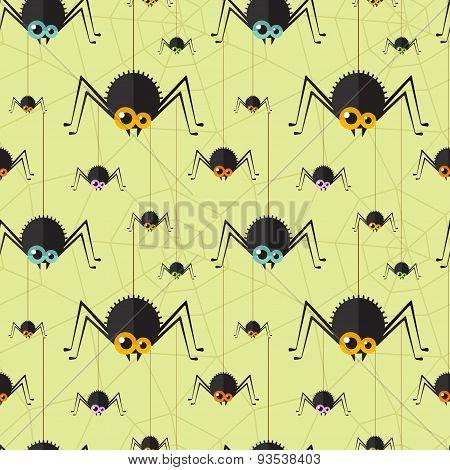Vector halloween spider seamless background
